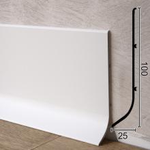 Белый алюминиевый плинтус для пола Sintezal P-101W, 100х25х3000мм.