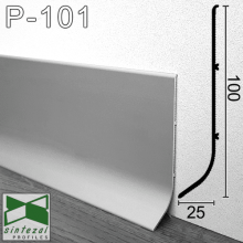 Промышленный алюминиевый плинтус Sintezal, 100х25х3000мм., Р-101