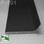 Черный алюминиевый плинтус для пола Sintezal® P-101B
