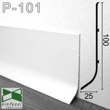 Белый алюминиевый плинтус для пола Sintezal P-101W 100х25х3000мм.