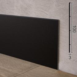 Чёрный алюминиевый плинтус с минимальной толщиной Sintezal P-102B, 100x3x2500mm.