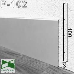 Плоский алюминиевый плинтус для пола Sintezal P-102, 100х3х2500мм., P-102,