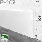 Высокий белый алюминиевый плинтус с минимальным отступом от стены Sintezal P-102W, 100x3x2500mm.