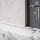 "Белый алюминиевый плинтус ""парящие стены"" Sintezal Р-104W, 40x15x2500mm."