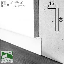 "Белый алюминиевый плинтус ""парящие стены"" Sintezal, приямок 40х15 мм. Р-104W"