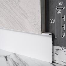 Алюминиевый плинтус скрытого монтажа Sintezal Р-105W, 60x15x2500mm. Белый
