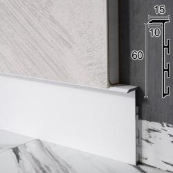 Скрытый алюминиевый плинтус высотой 6см. Sintezal Р-105W, 60x15x2500mm. Белый