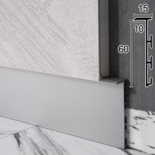 Скрытый алюминиевый плинтус под вставку Sintezal Р-105, 60х10х2500 мм.