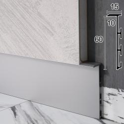 Алюминиевый плинтус скрытого монтажа под вставку Sintezal Р-105, H=60 мм.