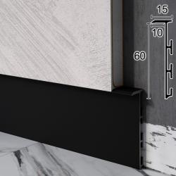 Скрытый плинтус алюминиевый Sintezal Р-105В, Чёрный. Высота 60 мм.