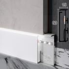 Скрытый алюминиевый плинтус со LED-подсветкой Sintezal P-105LW, 60x10x2500мм. Белый