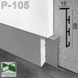 Универсальный скрытый плинтус Sintezal, приямок 60х10 мм. без покрытия Р-105