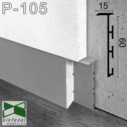 Скрытый алюминиевый плинтус под вставку Sintezal Р-105, высота 60 мм.