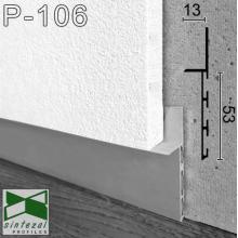 Встроенный алюминиевый плинтус скрытого монтажа Sintezal Р-106, приямок 53х10 мм.