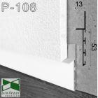 Белый алюминиевый плинтус под гипсокартон Sintezal P-106W, приямок 53х10 мм.