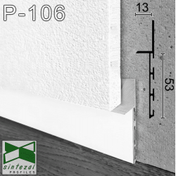 Белый алюминиевый плинтус под гипсокартон Sintezal P-106W, приямок 53х11 мм.