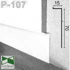 """Белый алюминиевый плинтус """"парящие стены"""" Sintezal P-107W, приямок 70х15 мм."""