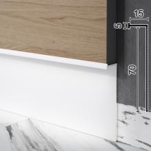 Скрытый алюминиевый плинтус c подсветкой Sintezal P-108W, 70х15х2700мм. Белый
