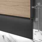 Г-образный алюминиевый плинтус cо скрытой подсветкой Sintezal P-108В, 70х15х2500мм. Чёрный