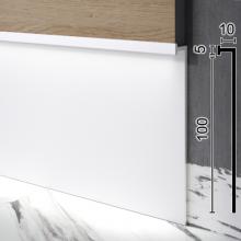 Скрытый алюминиевый плинтус под стеновые панели Sintezal P-110W, 100х10х3000мм. Белый