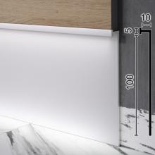 Высокий алюминиевый LED-плинтус скрытого монтажа Sintezal Р-110, 100х9,5х3000мм.