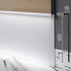 Скрытый алюминиевый плинтус с LED-подсветкой Sintezal Р-110, высота 100 мм.