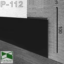 Черный алюминиевый плинтус под штукатурку Sintezal P-112В, высота 100 мм.