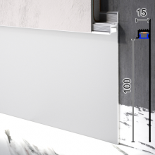 Скрытый алюминиевый плинтус с направленной LED-подсветкой Sintezal P-114, 100х13,5х2500 мм.