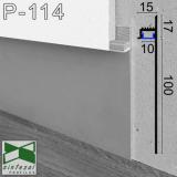 Скрытый алюминиевый плинтус Sintezal P-114 с направленной LED-подсветкой, 100х15х2500 мм.