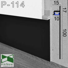Чёрный алюминиевый плинтус Sintezal P-114B с направленной LED-подсветкой, 100х15х2500 мм.