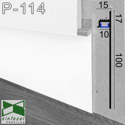 Белый алюминиевый плинтус Sintezal P-114W с направленной LED-подсветкой, 100х15х2500 мм.