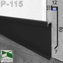Чёрный алюминиевый плинтус со скрытой LED-подсветкой Sintezal P-115B, высота 80 мм.