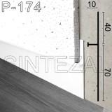 Белый алюминиевый плинтус скрытого монтажа P-174W, высота 40/70 мм.