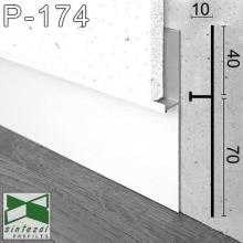 Белый алюминиевый плинтус для стеновых панелей Sintezal P-174W, высота 40-70 мм.