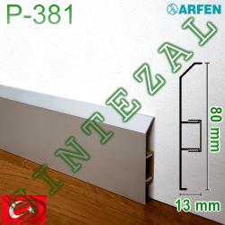 Алюминиевый плинтус с кабель-каналом ARFEN Р-381, высота 80 мм.