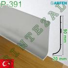 Плоский алюминиевый плинтус с большим нахлёстом на пол ARFEN Р-391, 90х20 мм.