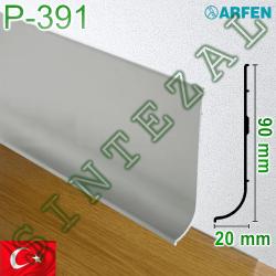 Плоский алюминиевый плинтус для пола ARFEN Р-391, высота 90 мм.