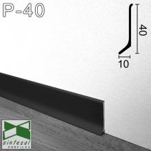 Черный алюминиевый плинтус Sintezal 40х10х2700мм. P-40B