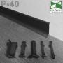 Плоский плінтус алюмінієвий для підлоги Sintezal P-40B, висота 40 мм. Чорний