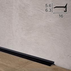 Сверхтонкий алюминиевый плинтус (антиплинтус) Sintezal P-05B, 16х5х2500мм. Чёрный