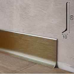 Сатинированный алюминиевый плинтус Sintezal P-60PT, H = 60мм. Цвет - Платина