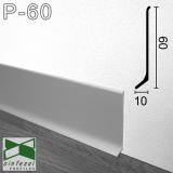 Плинтус алюминиевый накладной Sintezal 60х10х2500мм., анодированный P-60