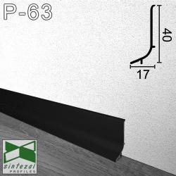 Черный алюминиевый плинтус для пола, накладной Sintezal Р-63B