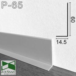 Накладной алюминиевый плинтус для пола Г-образный, высота 60мм.