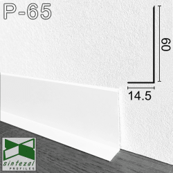Белый алюминиевый плинтус Sintezal® Р-65W, H=6 см.