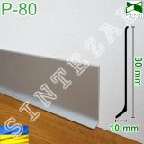 Плоский алюминиевый плинтус для пола Р-80, высота 80 мм.