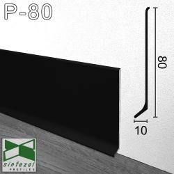Черный алюминиевый плинтус для пола Sintezal P-80B, высота 80 мм.