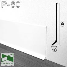 Белый алюминиевый плинтус для пола Sintezal 80х10х2500мм., P-80W