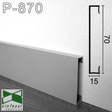 Прямоугольный алюминиевый плинтус Sintezal 70х15х2500мм., анодированный. P-870