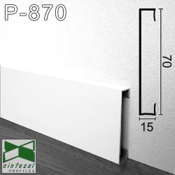 Накладной белый алюминиевый плинтус Sintezal® P-870W, H=70мм.